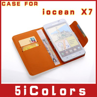 Free shipping 5 inch Leather Case For iocean X7 quad core MTK6589 Leather Case(5icolors-B)