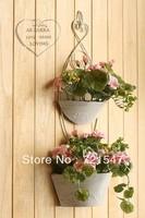 Wrought iron haitang hanging double basin simulation flower,household and wedding decoration flowers