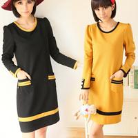 Free Shipping 2015 Spring Winter Women  plus size clothing ,elegant color block decoration slim Patchwork dresses
