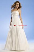 Fashion 2013 new arrival beach floor-length scoop chiffon wedding dresses  j225