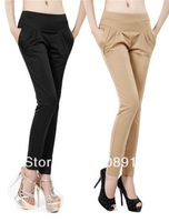 New han edition of tall waist elastic cultivate one's morality show thin casual pants harlan natural height pants yards