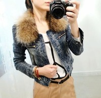 New 2013 797 long-sleeve short design denim outerwear the disassemblability female fur collar zipper denim jacket