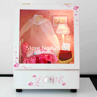 DIY cute girl's bedroom wooden music box with LED. doll music box for kid gift