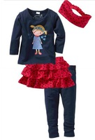 free shipping retail 100% cotton girls' clothes suit,clothes 4 set girls casual suit,t-shirt+skirt+pants+headwear