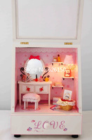 DIY cute girl dresser wooden music box with LED. doll music box for kid gift