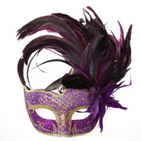 2013 masquerade masks colored drawing masks feather ball