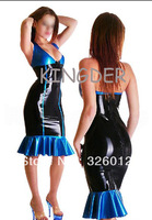 Blue stripes Latex Dress rubber Skirts for ladies party