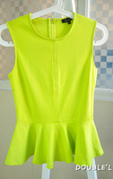 2013 fashion bright color ruffle sweep slim sleeveless vest skirt basic top  women tops