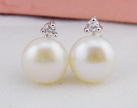 free shipping  zircon inset 9mm aaa grade genuine fresh water pearls earrings wholesale