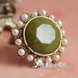 Fashion accessories popular jade pearl ring finger ring(China (Mainland))