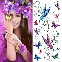 Free shipping 38 tattoo stickers waterproof female multicolour butterfly glitter belt