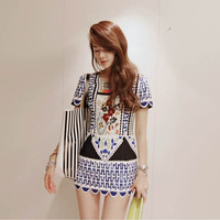 Package the postage Partysu2013 restores ancient ways dress in summer, short sleeve skinny hips, print dress good quality  DE-12