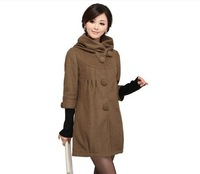 Hot sale! Free shipping 2013 autumn and winter new women long section hooded woolen overcoats