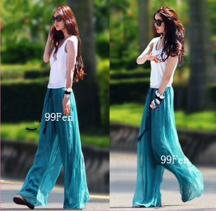 2013 Women Fashion Long Chiffon Culottes Lady Plus size High waist Wide leg pants ...