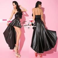 Fashion sexy black 2013 PU dovetail skirt female ruslana korshunova christmas long trailing half-length leather skirt