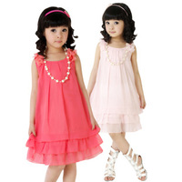 Retail Free shipping 2013 Summer new kids dresses,children dresses,girls bowknot chiffon dresses Free shipping
