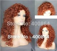 "Free shipping Fashion 20"" Lovely Long Curly Fox Red skin top Versatile Hair Ladies Wig #130"