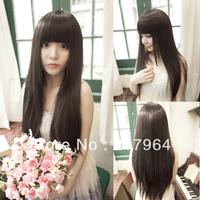 Straight hair long straight hair qi bangs girl wig straight hair high temperature wire wig