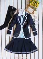 Dark Blue pleated skirt autumn and winter blazer school uniform girls class service uniform costume