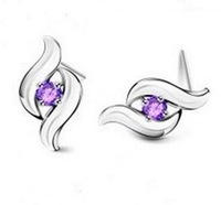 Free shipping new arrival JZ008 925 sterling silver & super shiny zircon ladies stud earrings jewellery wholesale 1pair/lot