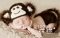 free shipping,Baby Infant New Born Monkey Crochet Party Shower Costume photo Photography Prop