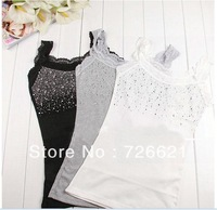 1pc Hot Sale Modal Sleeveless T Shirts Bling Women Lady Lace Camis Vest Singlets Summer Tank Tops Black White Grey  Wholesale