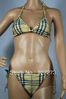 Free Shipping Designer Bikini 2013 Bathing Suit Brand Name Swimsuits Women's Push Up Plaid Sexy Swimwear Women 4 Colors S-L