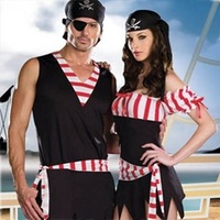 Halloween cosplay costume lovers pirates sailor full set fantasia adulta