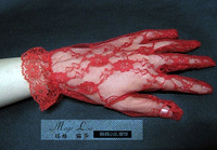 The bride red mesh wedding gloves with transparent lace gloves short