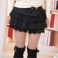 2013 spring new arrival shorts vintage lace skull autumn and winter shorts culottes laciness boot cut jeans female