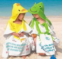 4pcs/lot Cartoon style cotton hooded baby bathrobe infant bath robe beach towel children's cloak poncho free shipping