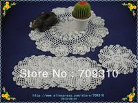 Free shipping Handmade Crochet Doily table mats Coaster mat pad Crochet Tablecloth Wallpaper 16cm 6Piece, 40cm 1Piece Set