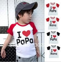New style Baby  short sleeve t-shirt,boys/girls Tops shirts,I love papa/mama T-shirts, (20 pcs/lot)