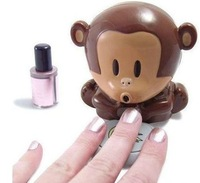 Cute Monkey Hand Nail Art Tips Design Gel Polish Dryer Manicure Care