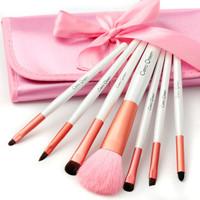 free shipping 2013 new pink makeup make up pink 7 pics set brush sets love set flower eyeliner brush  tools set bag m23