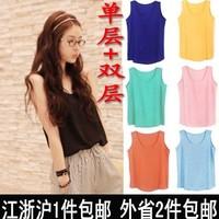 Fashion high quality chiffon small vest female single double layer all-match loose basic shirt sleeveless spaghetti strap