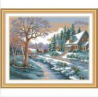 Top Quality Counted Cross Stitch Kits  Free Shipping Winter Snow Scenery Cabin Tree Sky Flower