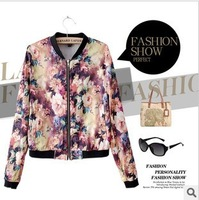 2013 free shipping summer flower printed short sleeved Lady's coat jacket YC-I35255-A57