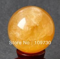 00231 Natural Citrine Calcite Quartz Crystal Sphere Ball Healing Gemstone 80MM+SAND