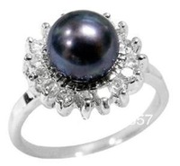 REAL NATURAL BLACK AKOYA PEARL RING SIZE 7-10