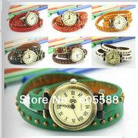 10% OFF!97pcs/lot wrap leather watch,7 colors DHLfree shipping fashion Steampunk  watch wristwatch