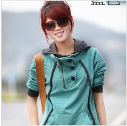 free shipping Spring Fashion Casual Lady Hoodie Outerwear Women Fleece Sweatshirt Hot Selling wholesale and retail 8903-1(China (Mainland))