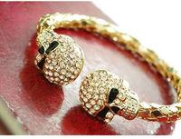 wholesale top fashion crystal gold skull bracelet skull bangle skull jewelry 12pcs/ lot free shipping