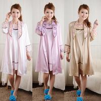 Spring and summer autumn elegant women's wrist-length sleeve sleepwear silk sexy twinset robe fashion spaghetti strap nightgown