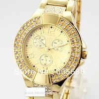 100pcs/lot., stainless steel watch fashion metal diamond geneva watch, dhl Freeshipping to usa/europe