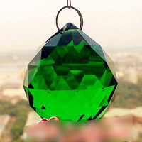 Green Colour 2 PCS Mas cot  FENG SHUI CRYSTAL SPHERE PRISM MATERIAL GLASS 30MM DIAMETER HANDMADE