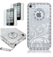 Deluxe Rose Pink Chrome Bling Crystal Rhinestone Hard Skin Cover Case for iPhone 4 4S