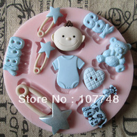 Baby Boy Heart Bear Pin Fondant Mold Polymer Clay Mold Soap Mold Silicone Mold,For Soap, Candy, Chocolate, Ice, Craft