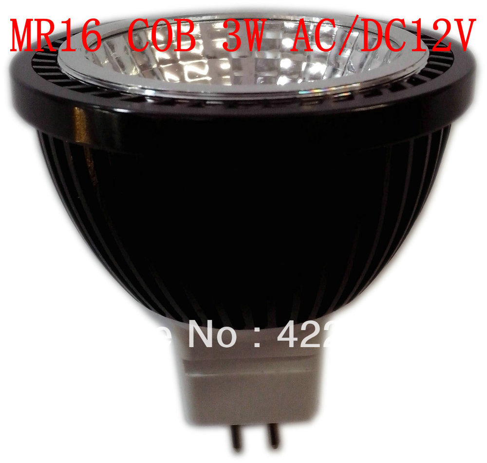Black Aluminum shell (COB2) MR16 COB 3W 300lm Aluminum Led spot light AC/DC12V(China (Mainland))