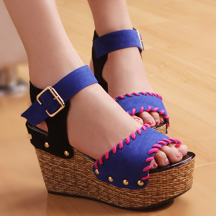 2013 bohemia rivet wedges platform ultra high heels open toe platform colorant match women's shoes sandals(China (Mainland))